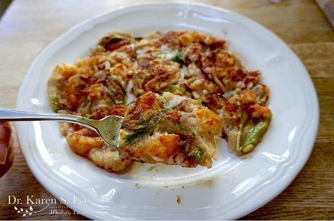 Korean Seafood Pancake on Fork