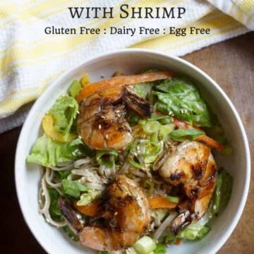 soba noddles Shrimp salad