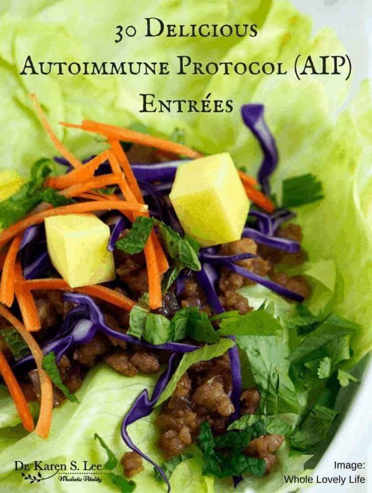 lettuce cup with meat, carrots, purple cabbage, and cilantro