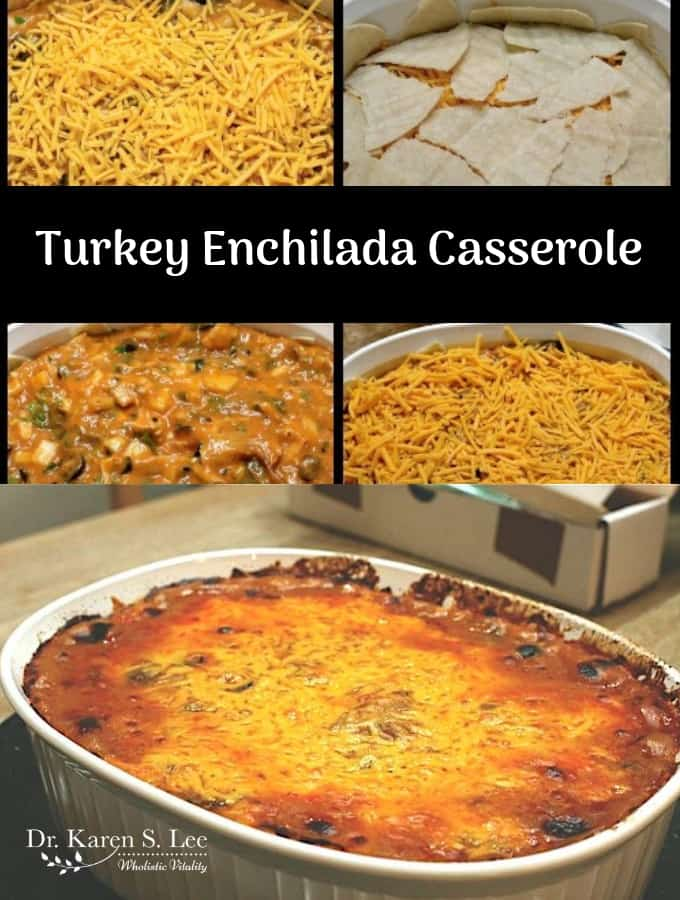 Collage of turkey enchilada casserole instructions