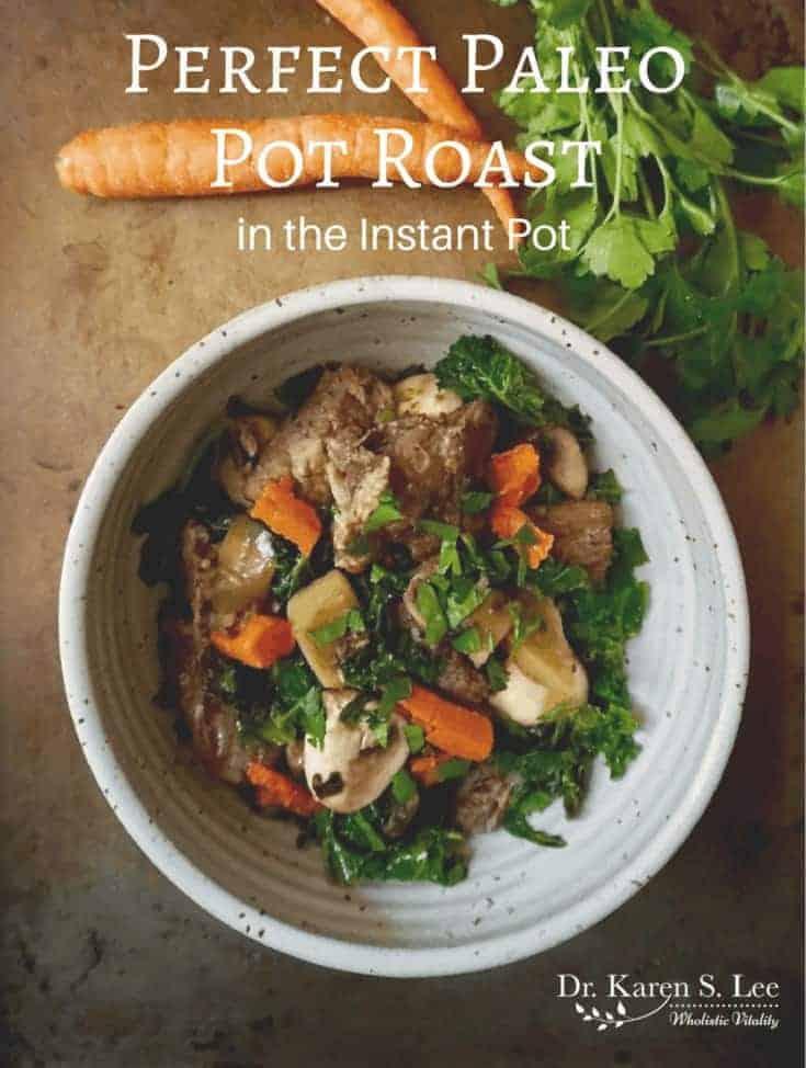 paleo pot roast in ceramic bowl