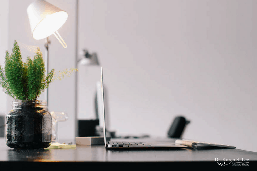 laptop on a desk, next to desk lamp and small plant