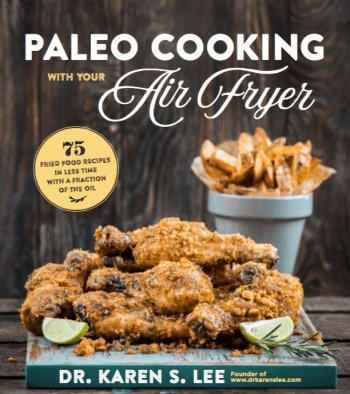 Various recipes on Paleo Cooking with your Air Fryer cookbook cover
