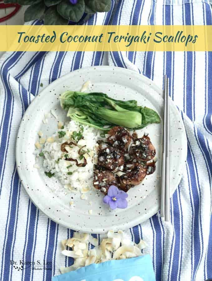 Toasted Coconut Teriyaki Scallops