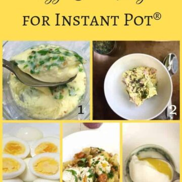 eggs cooked in instant pot, steamed, boiled, poached, eggs encotte, and eggs with sweet potato hash