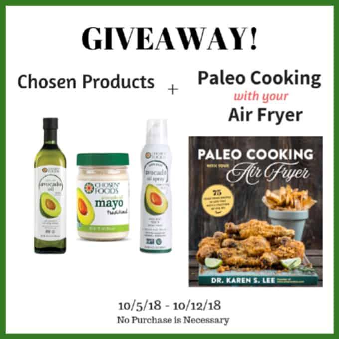 Chosen avocado oil, avocado oil spray, avocado mayo and paleo cooking with your air fryer cookbook cover