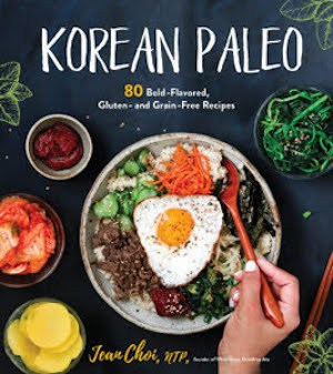 Korean Paleo Cookbook Cover with colorful bibimbap in a bowl against a dark background