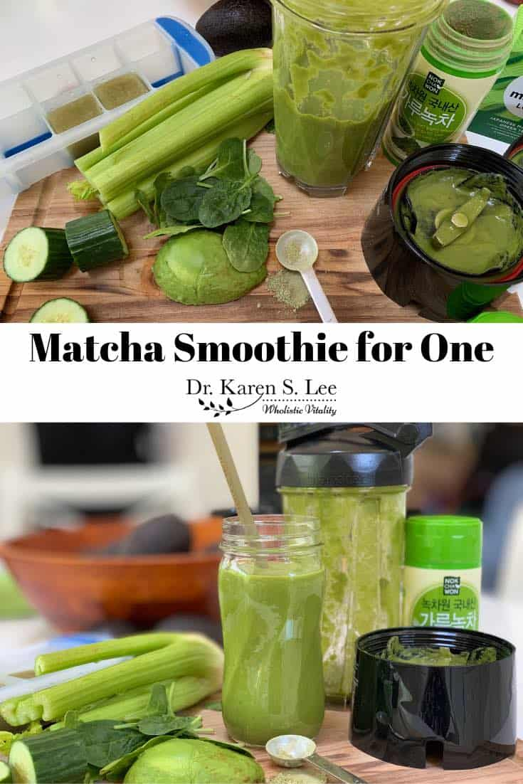 collage of matcha smoothie in the making