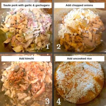 Step by step 4 shots of Kimchi Pork Fried Rice being made