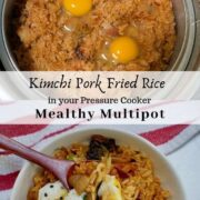 kimchi pork fried rice inside pressure cooker and in bowl