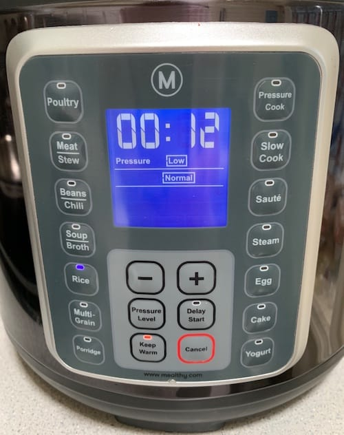Multipot front panel showing rice setting on