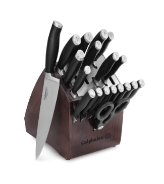 20 pieces of cutlery set in a brown knife block