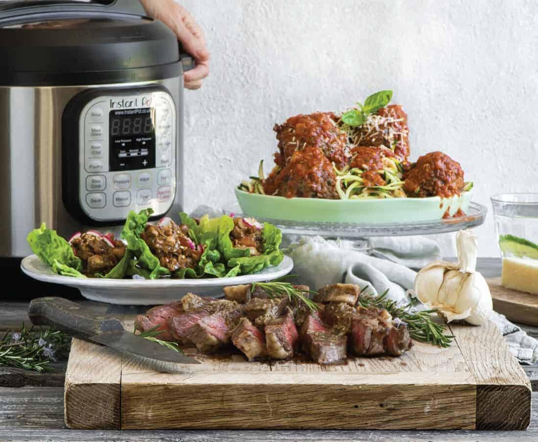 instant pot with meatballs, steak strips, chicken lettuce wraps
