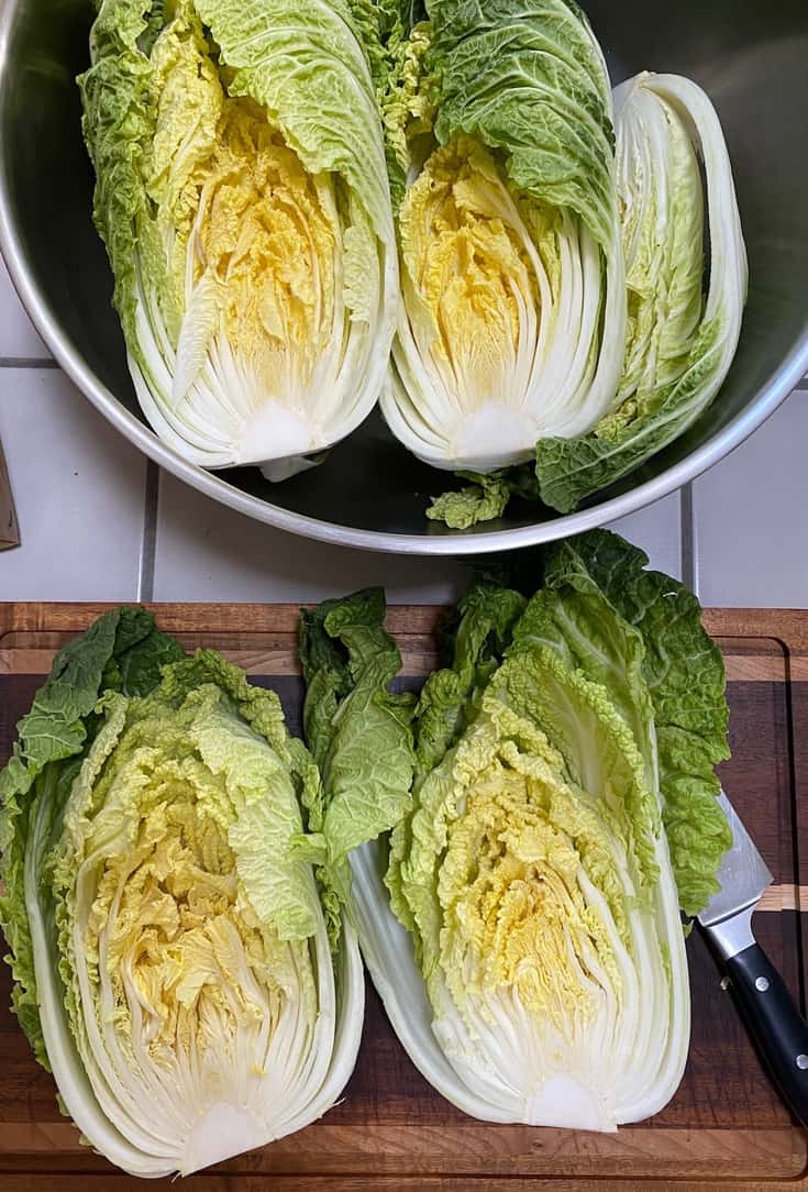 napa cabbages cut in half in a bowl and on cutting board