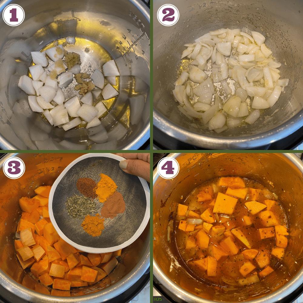 butternut squash soup steps 1-4