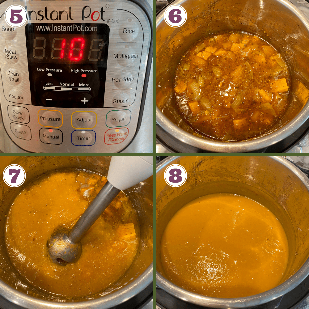 Butternut squash soup steps 4-8
